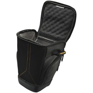 Case Logic SLR Zoom Holster Interior dimensions (W x D x H) 165.1 x 210.8 x 127 mm, Black, * Professional aesthetic with a touch of outdoor look;* Protective holster designed to fit SLR cameras with zoom lens;* Front and side pockets to store extra gear;* Lid pocket for additional accessories;* Molded EVA base for impact and moist protection;* Handle and shoulder strap.,
