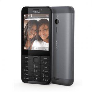 "Nokia 230 Dark Silver, 2.8 "", TFT, 240 x 320 pixels, 16 MB, Dual SIM, Mini-SIM, Bluetooth, 3.0, USB version microUSB 1.1, Built-in camera, Main camera 2 MP, Secondary camera 2 MP, 1200 mAh"