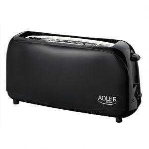 Adler Toaster AD 3206 Black, Plastic, 750 W, Number of slots 2, Number of power levels 1
