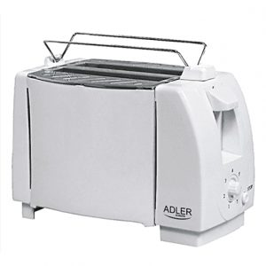 Adler Toaster AD 33  White, Plastic, 750 W, Number of slots 2, Bun warmer included