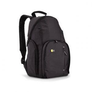 Case Logic DSLR Compact Backpack Black, Unique fold-out camera storage with dual zippers and protective flap allows for quick access to camera gear;Fits compact DSLR camera plus 2 accessories;Dedicated, padded iPad compartment along the back panel features side access for quick retrieval;Upper compartment stores personal items such as a jacket, sunglasses or a snack;Side zippered pockets store an extra battery, cables, lens cap, or small accessories;Padded, mesh back panel and shoulder strap provide comfort and breathability;Lightweight yet durable materials protect and carry your equipment without adding unnecessary weight and bulk to your load;