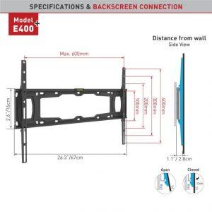 Barkan fikskinnitus E400+.B 32 – 90″ lame- ja nõgusa ekraaniga teleritele